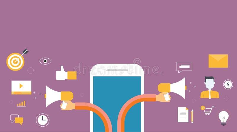 Banner voor bedrijfs digitale marketing bij de mobiele en inhouds marketing royalty-vrije illustratie