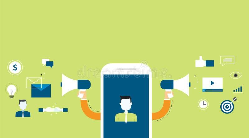 Banner voor bedrijfs digitale marketing inhoud vector illustratie