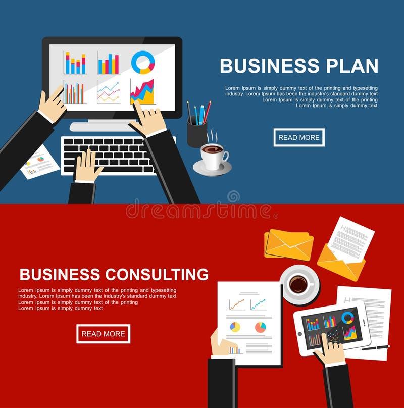 Banner voor businessplan en het bedrijfs raadplegen De vlakke concepten van de ontwerpillustratie voor financiën, zaken, beheer,  royalty-vrije illustratie