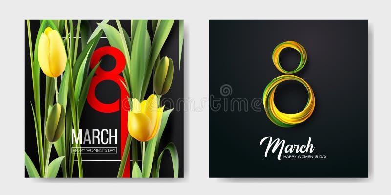 Banner voor de Dag van de Internationale Vrouwen Verkoopbanner, kortingskaart 8 maart Vector illustratie