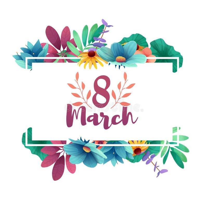 Banner voor de Internationale Vrouwen` s Dag Vlieger voor 8 Maart met het decor van bloemen Uitnodigingen met binnen aantal 8 royalty-vrije illustratie