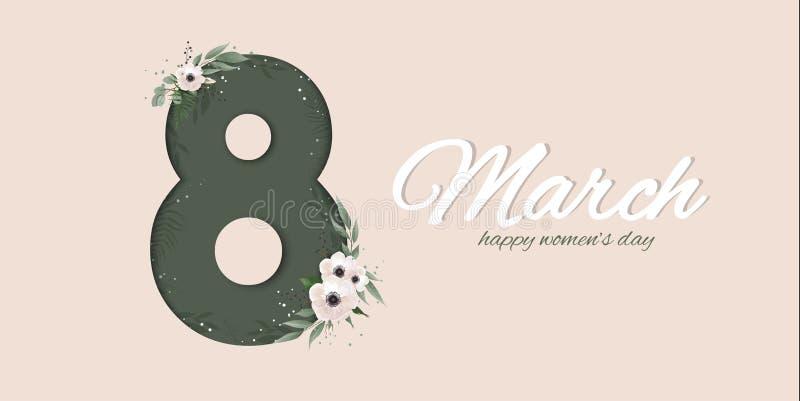 Banner voor de Internationale Vrouwens Dag Groetkaart voor 8 Maart met de lenteinstallaties, bladeren en bloemen vector illustratie