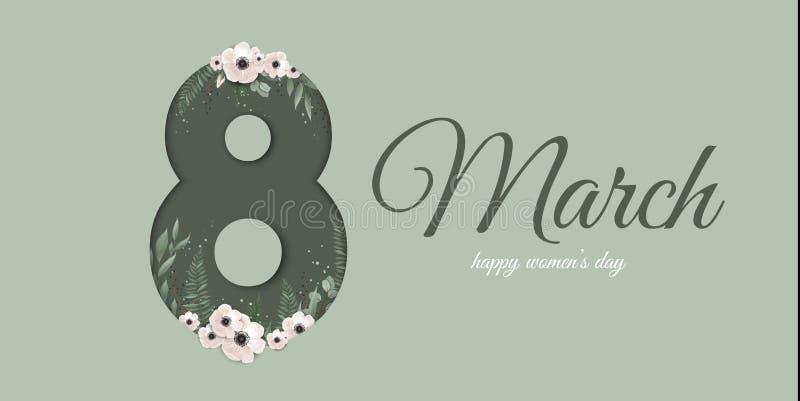 Banner voor de Internationale Vrouwens Dag Groetkaart voor 8 Maart met de lenteinstallaties, bladeren en bloemen stock illustratie