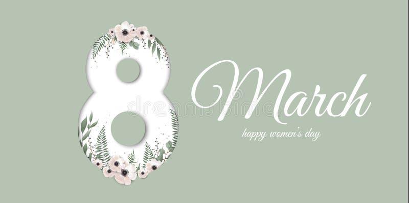 Banner voor de Internationale Vrouwens Dag Groetkaart voor 8 Maart met de lenteinstallaties, bladeren en bloemen royalty-vrije illustratie