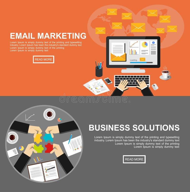 Banner voor e-mail marketing en bedrijfsoplossingen royalty-vrije illustratie