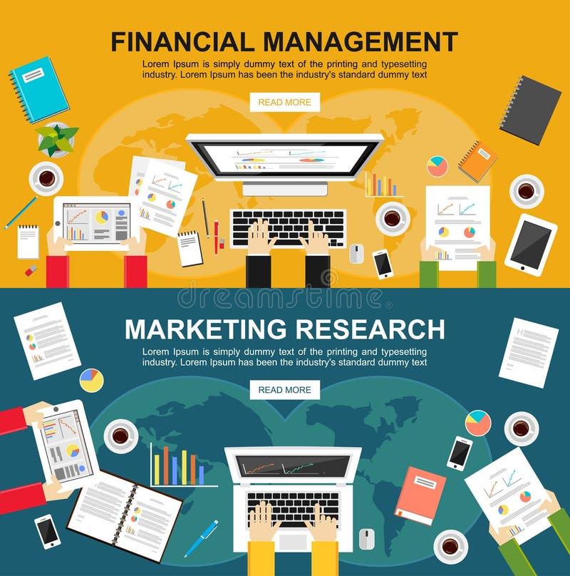 Banner voor financieel beheer en marketing onderzoek De vlakke concepten van de ontwerpillustratie voor financiën, zaken, marketi royalty-vrije illustratie