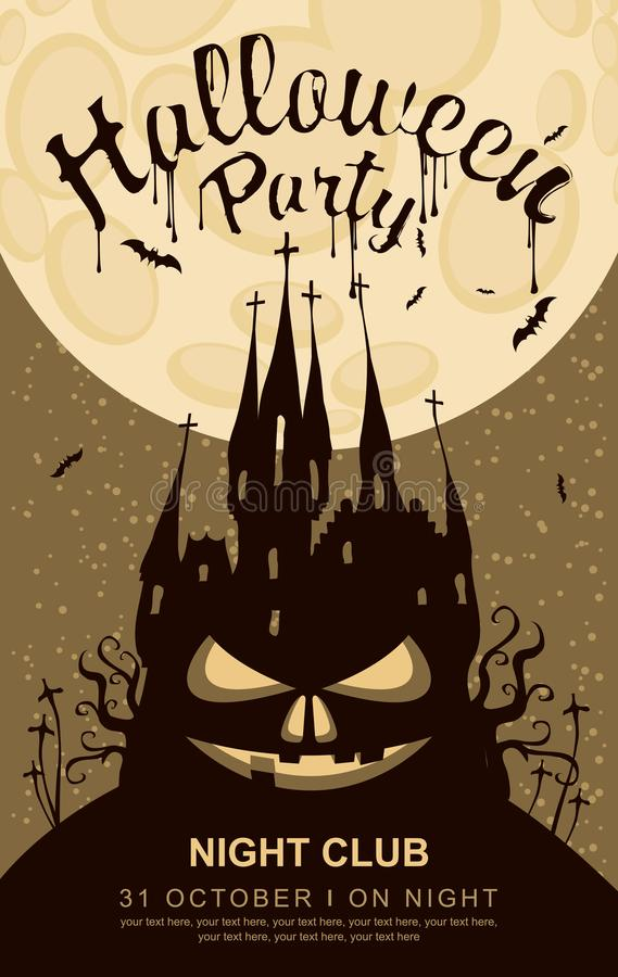 Banner voor Halloween met oud Gotisch kasteel royalty-vrije illustratie
