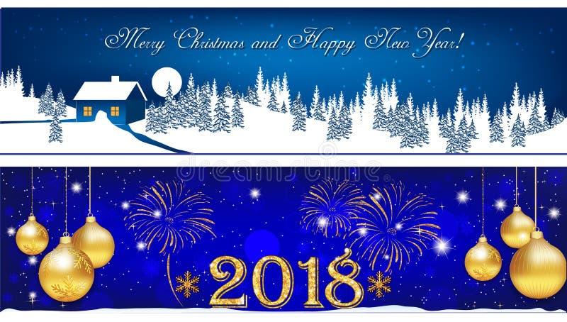 Banner voor Kerstmis en Nieuwjaar 2018 wordt geplaatst die stock illustratie