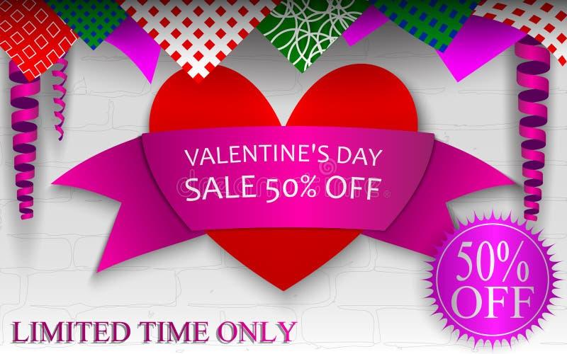 Banner voor St Valentine ` s Dagverkoop 50% korting stock afbeelding