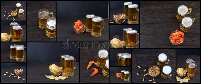 banner voor website, Collage van foto's van bier en snacks op de donkere lijst, Voedselcollage van bier royalty-vrije stock afbeelding