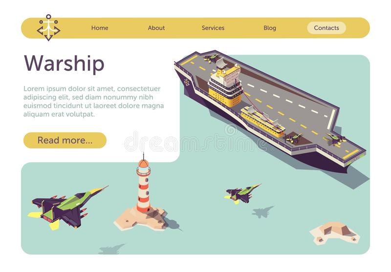 Banner with Warship and Landing Military Jets vector illustration
