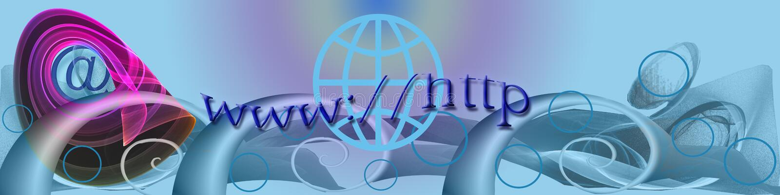 Banner: Waves And Internet. This design / banner / header has playful wave shapes. The @ globe and text represent the use of world wide internet stock illustration