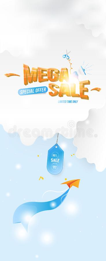 Banner for web page. Special offer Mega Sale 50 Plane with a ribbon on the background of clouds cut out of paper and stock illustration