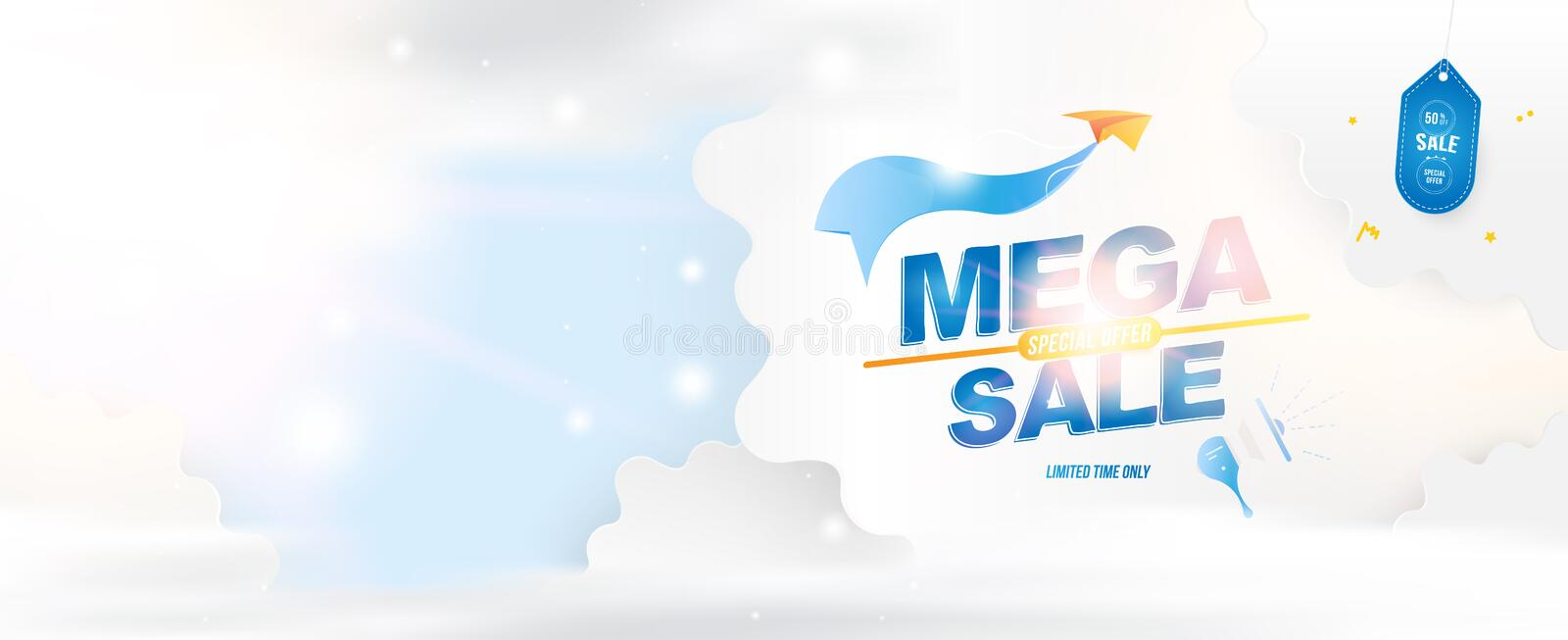 Banner for web page. Special offer Mega Sale 50 Plane with a ribbon on the background of clouds cut out of paper and vector illustration