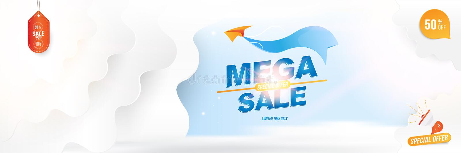 Banner for web page. Special offer Mega Sale 50 Plane with a ribbon on the background of clouds cut out of paper and glowing stock illustration