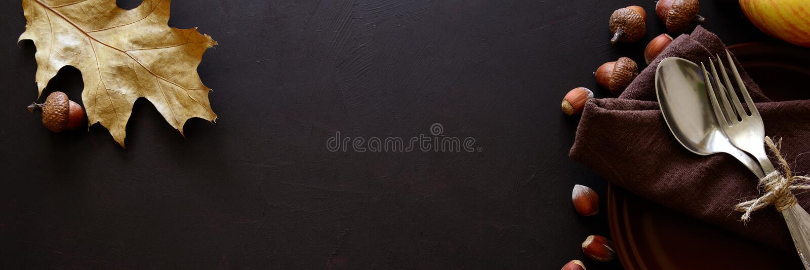 Banner for Web. Tableware, walnuts, hazelnuts, chestnuts and acorns on dark wooden background. stock photography