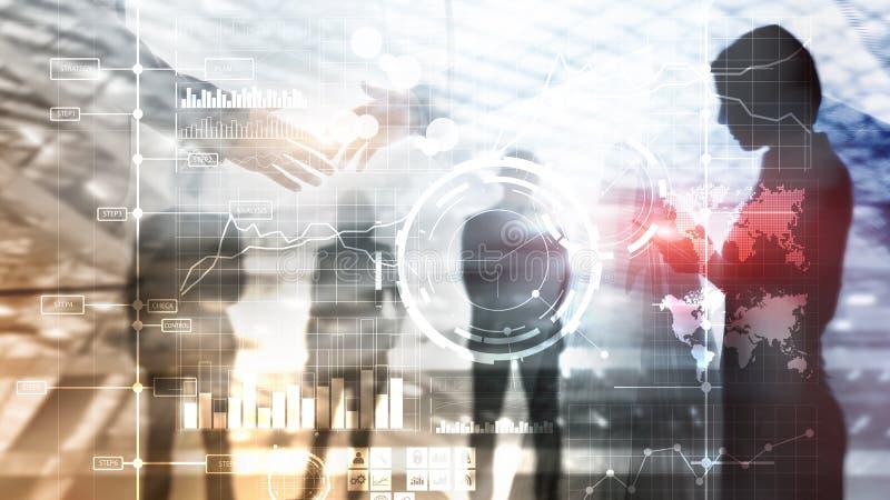 Banner Website.  Business intelligence BI Key performance indicator KPI Analysis dashboard transparent blurred background. royalty free stock images