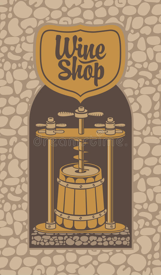 Banner for a wine shop with a barrel and press. Vector illustration for a wine shop. Traditional production of white wine using a press in a wooden barrel in stock illustration