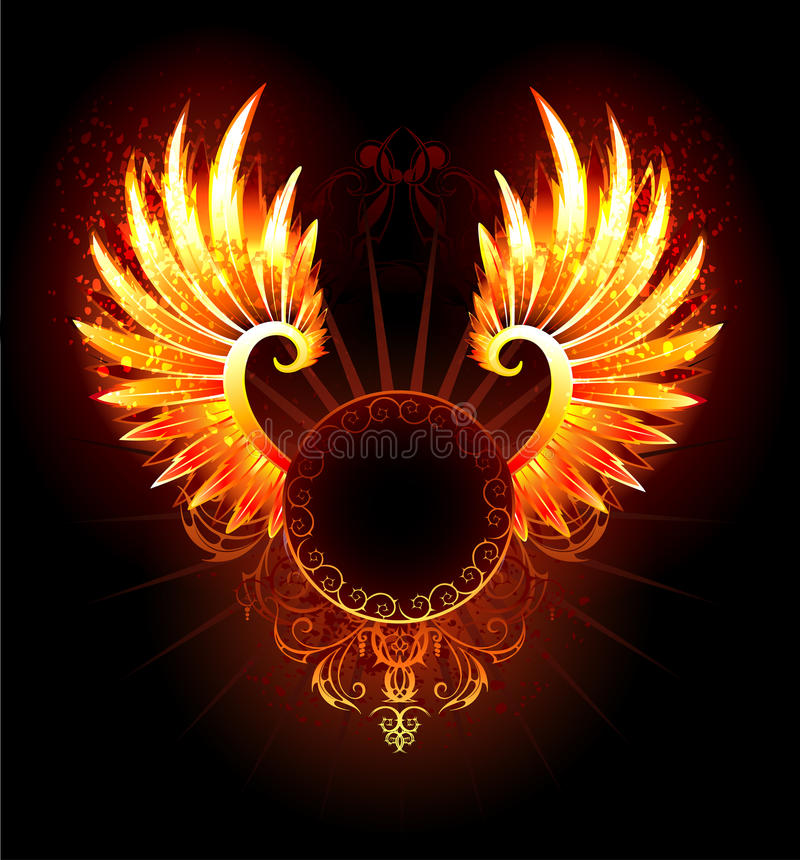Banner with wings phoenix. Artistically painted, round banner with fiery phoenix wings on a black background