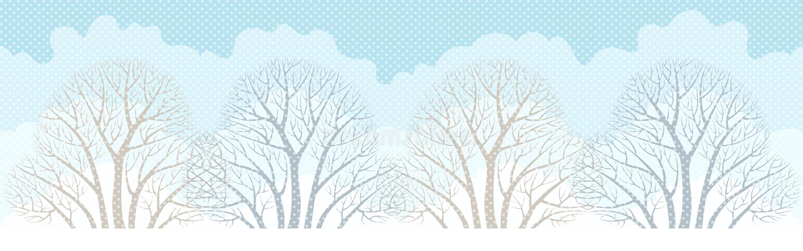 Banner with winter trees. stock illustration