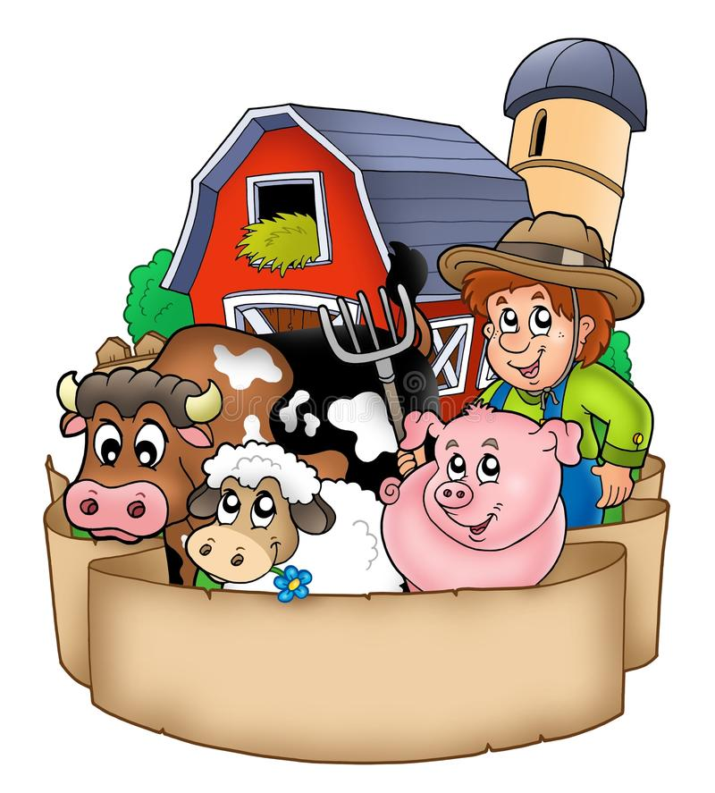 Free Banner With Barn And Country Animals Royalty Free Stock Photos - 15719538