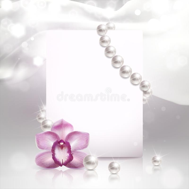 Free Banner With Orchid And Pearls Stock Images - 137228604