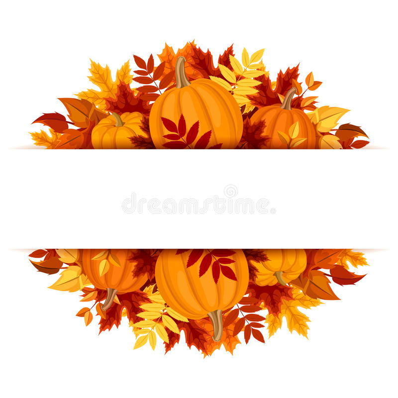 Free Banner With Pumpkins And Colorful Autumn Leaves. Vector Eps-10. Stock Image - 45126301