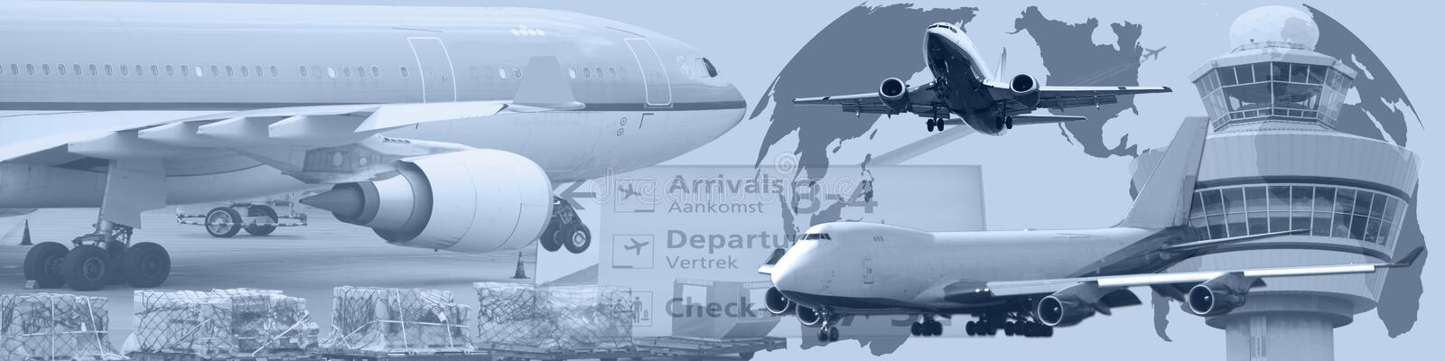 Banner World Wide Air Traffic. This banner / header shows a composition of air planes a control tower and the transportation of goods on an airport. On the stock illustration