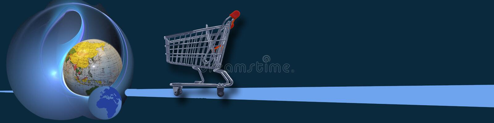 Banner World wide (e-) commerce. This header / banner is about metaphors meaning World wide business / e-commerce stock illustration