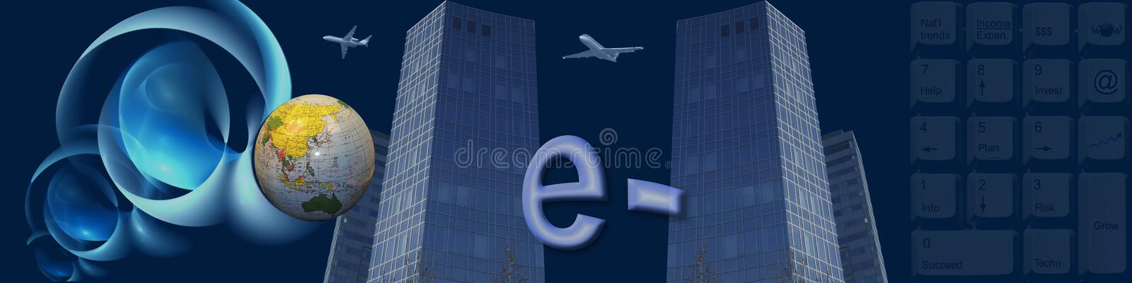 Banner Worldwide e-commerce. The glove skyscrapers keyboard and the abstract 3d shapes are metaphors. Together with the e- this banner / header is about Using royalty free illustration
