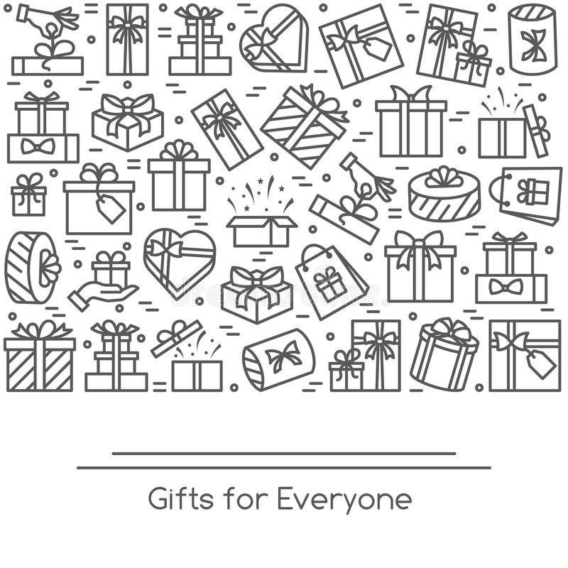 Banner with wrapped gift boxes pictograms with editable stroke collected in form of rectangular. vector illustration