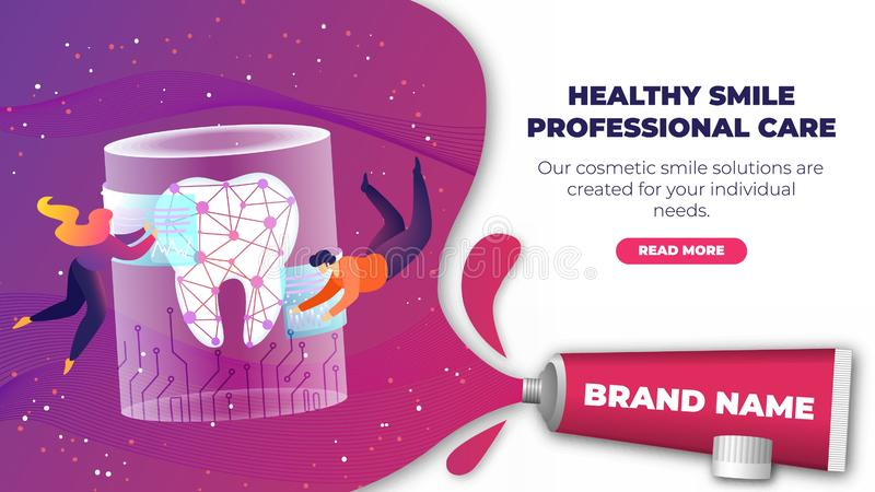 Banner is Written Healty Smile Professional Care. Banner is Written Healthy Smile Professional Care. Man and Woman Fly into Weightlessness around Large Tooth royalty free illustration