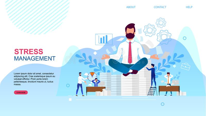 Banner is Written Stress Management Landing Page. vector illustration