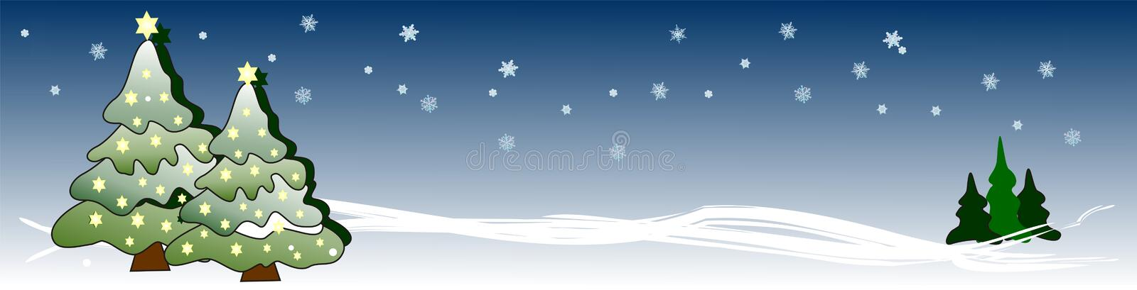 Banner with Xmas trees and glowing stars. Decorative Christmas banner / header decorated with lots og glowing stars against a sky with cute snowflakes stock illustration