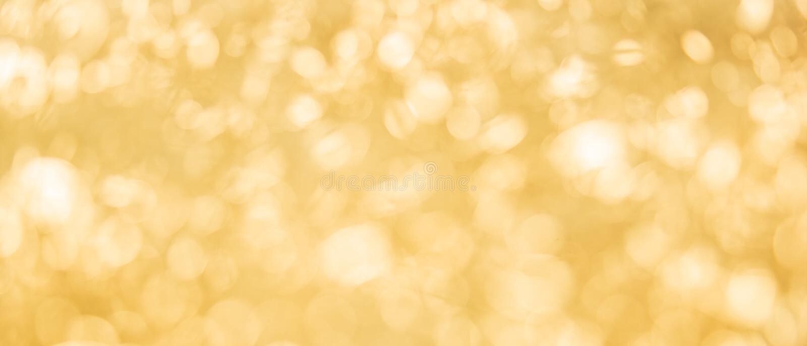 Banner of yellow bokeh abstract texture background stock image