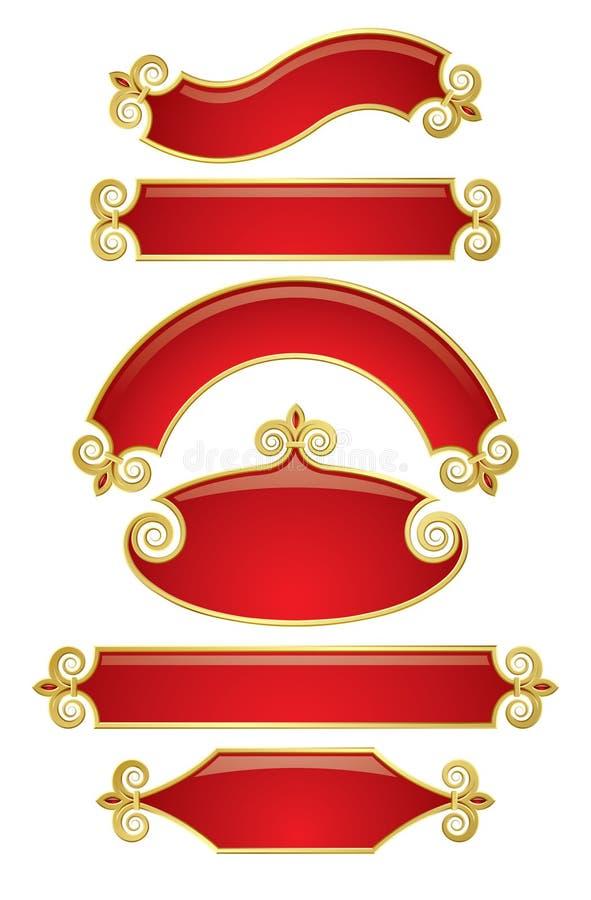 banner złota czerwony royalty ilustracja