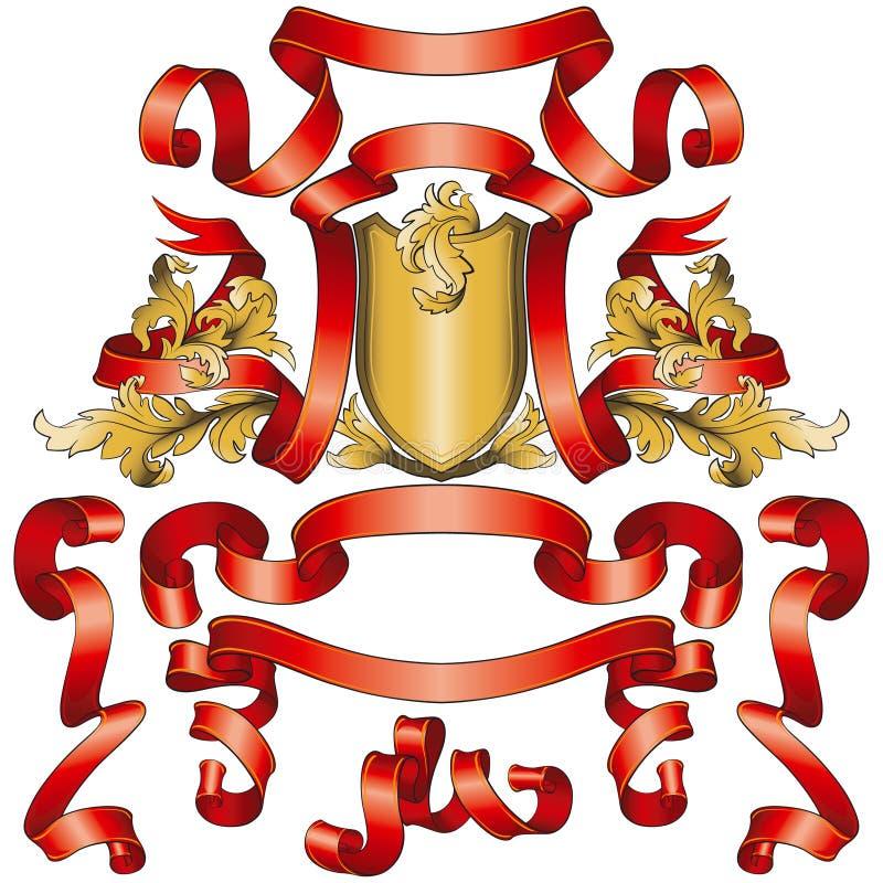 banner zbioru czerwona tarcza złota ilustracja wektor