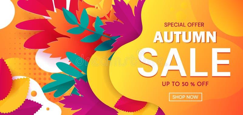 BannerColorful baner som annonserar en Autumn Sale med 50 procent rabatter och speciala erbjudanden med text på abstrakt begrepp royaltyfri illustrationer