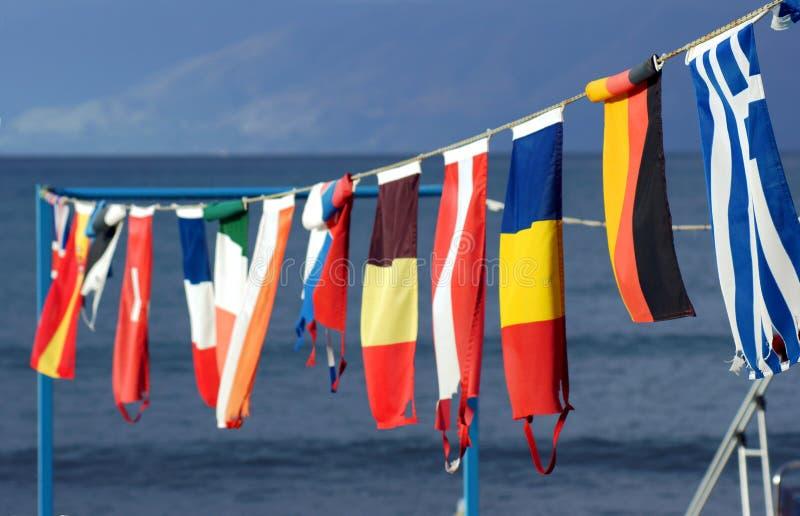Bannerets On Marina Stock Photo