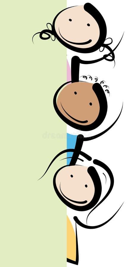 Bannerjonge geitjes vector illustratie