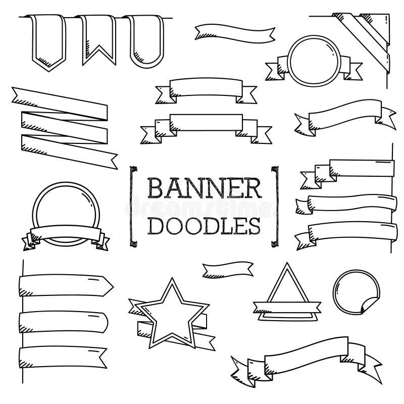 Bannerkrabbel, de stijlen van de Handtekening van Banner stock illustratie
