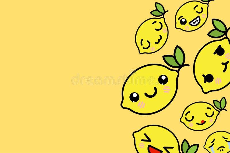 Bannermalplaatje met plaats voor tekst - grappige Emoji-citroenen Vectorillustratie royalty-vrije illustratie
