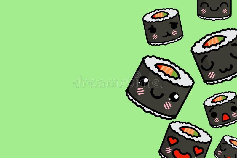 Bannermalplaatje met plaats voor tekst - grappige Emoji-sushi Vectorillustratie royalty-vrije illustratie