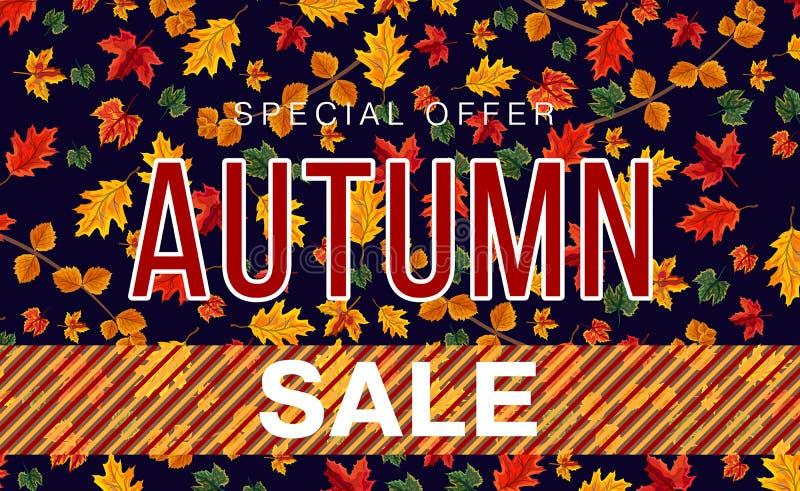 Bannermalplaatje voor de herfstverkoop stock illustratie