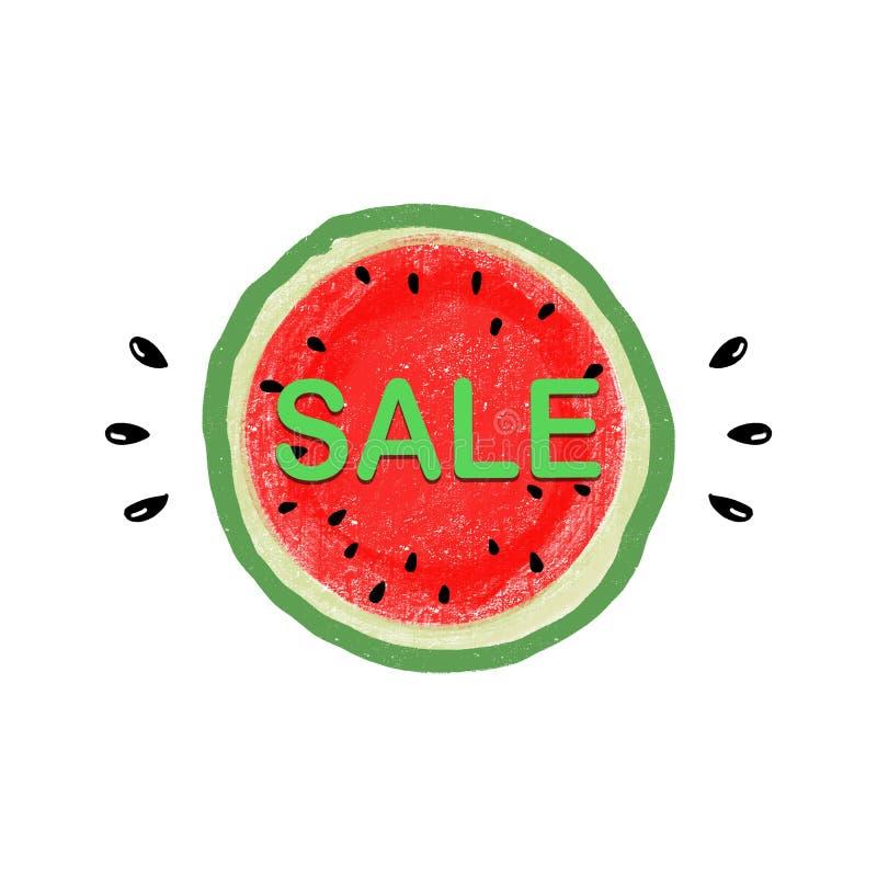 Bannermalplaatje voor verkoop met rode sappige plak van smakelijke watermeloen met zaad royalty-vrije illustratie