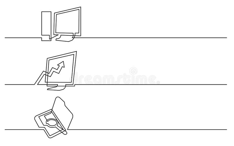 Bannerontwerp - ononderbroken lijntekening van bedrijfspictogrammen: bureaucomputer, diagram, zoekmap vector illustratie