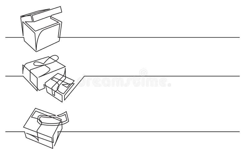 Bannerontwerp - ononderbroken lijntekening van bedrijfspictogrammen: doos, pakketten, postbestelling vector illustratie