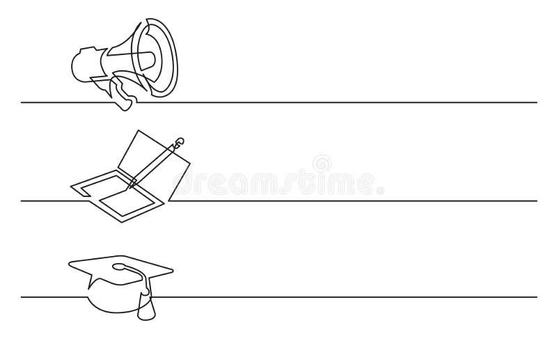 Bannerontwerp - ononderbroken lijntekening van bedrijfspictogrammen: megafoon; notitieboekje; graduatie GLB vector illustratie