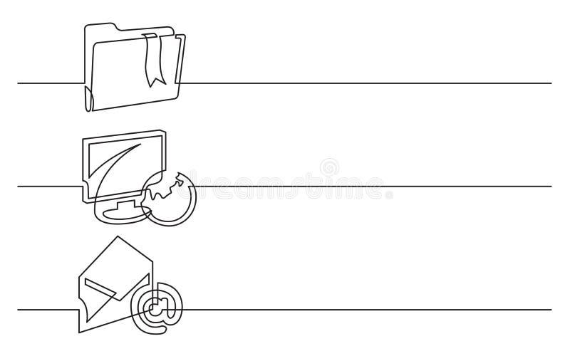 Bannerontwerp - ononderbroken lijntekening van bedrijfspictogrammen: omslag met referentie, vertoning, bol, e-mail, brief stock illustratie
