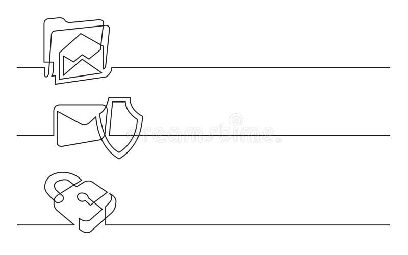 Bannerontwerp - ononderbroken lijntekening van bedrijfspictogrammen: postomslag; beschermingsschild; veiligheidsslot royalty-vrije illustratie